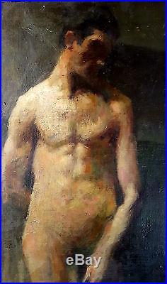 Grand tableau ancien superbe portrait de jeune homme nu