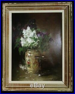 Grand tableau de Charles Frédéric JUNG (1865-1936) Bouquet de fleurs