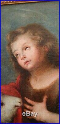 Grande Huile Sur Toile XVII religion Saint Jean baptiste l'enfant et l'agneau