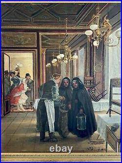 Grande Huile sur toile représentant une scène d'intérieur, début XXe