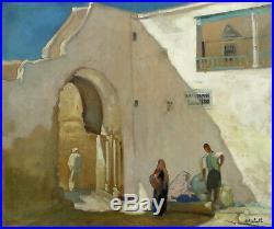Grande & Luminuse Toile Orientaliste. Fontaine Animée A Kairouan En Tunisie
