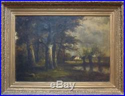 Grande Peinture école de BARBIZON 19e siècle signée avec cadre
