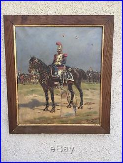 Grande huile sur toile cavalier grande armée Empire Napoleon signé a restaurer