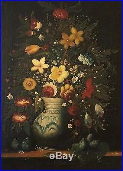 Grande huile sur toile école Flamande XIXème siècle Oil painting 19th century