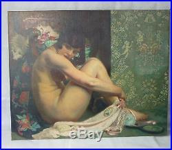 Grande huile sur toile nu assis 1929 art déco G. NAUWELAERST