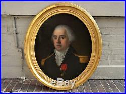 Grande peinture Ecole française restauration portrait officier décoration du lys