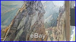 Gustave VIDAL Tableau HUILE sur TOILE 60x110 Signe ROUTE en MONTAGNE CORSE Art