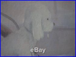 Guy SERADOUR Jeune fille et son petit chien # HUILE SUR TOILE SIGNEE # UNIQUE
