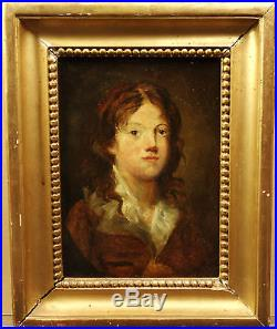 HST Beau Portrait de Jeune Homme XIXe Peinture Ecole Anglaise ou Française