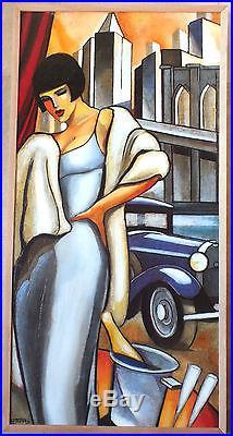 HST huile sur toile peinture de Stephane Gisclard tableau le pont de Brooklyn