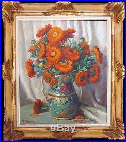 HUGONNARD Adeline Huile sur toile Fleurs pourpres dans un pot SBG