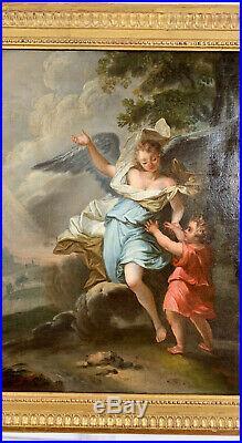 HUILE SUR TOILE DU XVIIIe REPRÉSENTANT UNE SCÈNE RELIGIEUSE