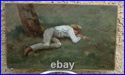 Henry Auburtin 1868-1923. Charmant Tableau. Jeune Homme Endormi Sous Un Arbre