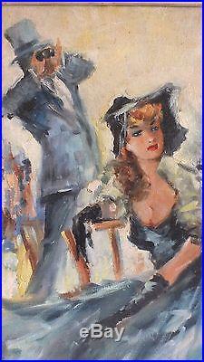 Hst huile sur toile élégante au champ de courses signé Grisot peinture tableau
