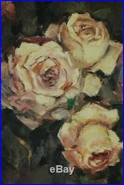 Hubert Borguet, 1908-1998, Fleurs, Superbe bouquet de roses, Circa 1950, Huile