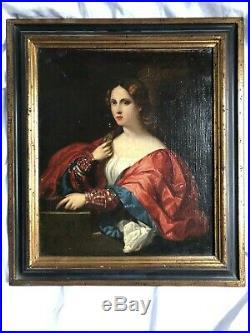 Huile Sur Toile Femme A La Robe Rouge 19 Eme Siecle Dans Le Gout Du 17 Eme