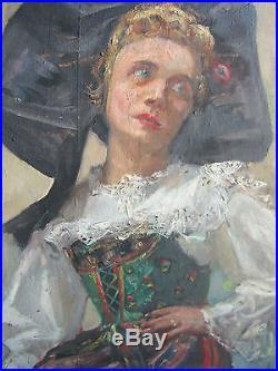 Huile Sur Toile Hst Portrait Alsacienne Par Lucien Hector Jonas Alsace Ww2 39 45