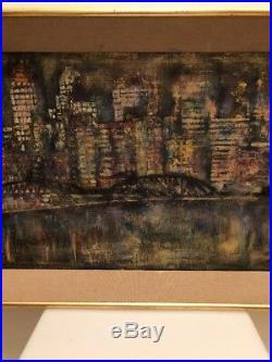Huile Sur Toile New York, Vue De Nuit, Années 60,70