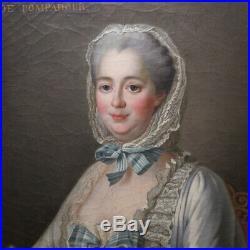 Huile Sur Toile, Portrait de Madame de Pompadour, d'après DROUAIS Azay Le Rideau