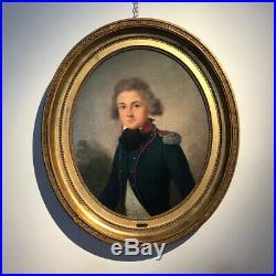 Huile Sur Toile XVIIIe S Attribué à Antoine Giroust Portrait d'Un Lieutenant
