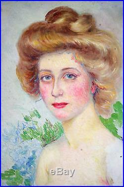 Huile Sur Toile-art Nouveau-portrait-jeune Femme-impressionniste-1900