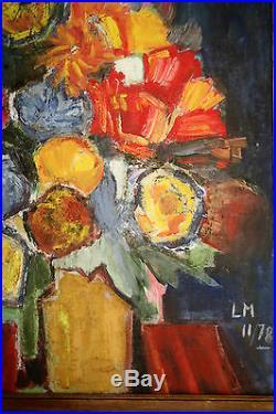 Huile Sur Toile-fleurs-bouquet-expressionnisme-cubisme-moderniste-couleur