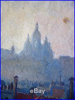 Huile Sur Toile-paris-sacre Coeur-signature-impressionniste-toit-cheminee-1901