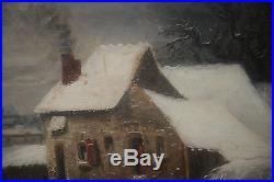 Huile Sur Toile-paysage-neige-louis Claude Malbranche-caen-campagne-village