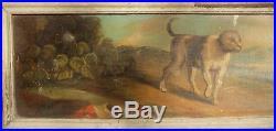 Huile Sur Toile-peinture De Boiserie-epoque XVIII Eme-le Chien Et Le Loup-esope