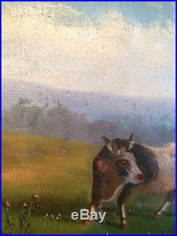 Huile Sur Toile-scène Pastorale-vache 19 Eme