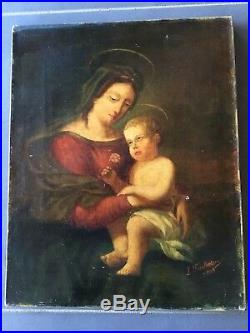 Huile / Toile Vierge A L Enfant Date 1903 Signée