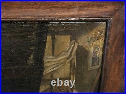 Huile sur Toile Religieuse Misère Enfant Père Souffrant XIX ème Antique Painting