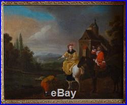 Huile sur toileScène de chasse à courre Ecole Française XVII-XVIIIème, dedicacé