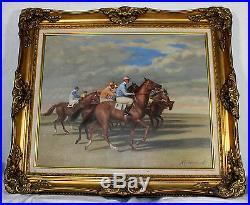 Huile sur toile Course de chevaux, Jockeys au départ signé