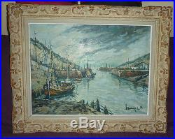 Huile sur toile, Ecole Normande, LAVOINE ROBERT LP (1916-1999) Port-en-Bessin