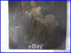 Huile sur toile Ecole française XIXe Prière pour l'enfant malade