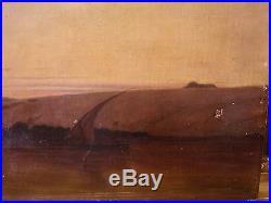 Huile sur toile Egypte Nil Karnak Nubie 1870