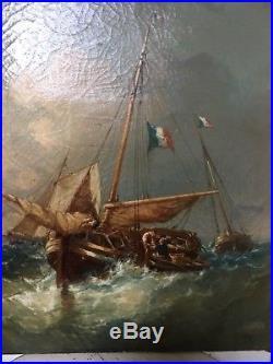 Huile sur toile Marine du 19 eme signée Z