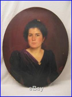 Huile sur toile XIX ème siècle portrait de femme signée F. France datée 1899