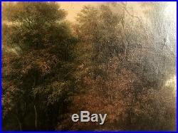 Huile sur toile XIXe, Paysage animé