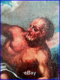 Huile sur toile ancienne XVIIème siècle Suzanne et les Vieilliards Mythologie