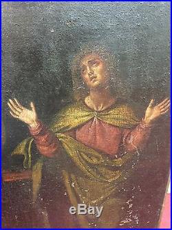 Huile sur toile ancienne scène religieuse XVII-XVIII-XIXème. Christ en croix