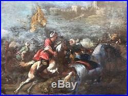 Huile sur toile (attaque Ottoman) entourage de Jacques Courtois 17ème siècle