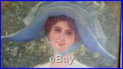 Huile sur toile benezit emile vernon portrait rare hst painting woman