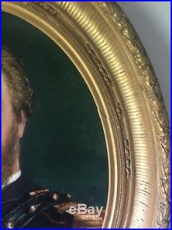 Huile sur toile cadre ancien doré portrait militaire XIXème HST 87 cm 72 cm