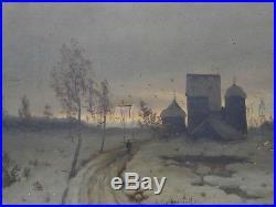 Huile sur toile clair obscur paysage enneigé grand nord Russie peinture painting