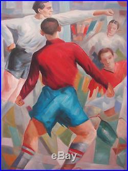 Huile sur toile cubiste football sport soccer painting cubisme abstrait