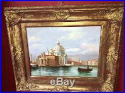 Huile sur toile de la fin du XIXe Vue de Venise Beau cadre en bois doré