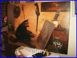 Huile sur toile du singe peintre