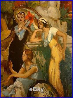 Huile sur toile femmes au parc Contardo Barbieri